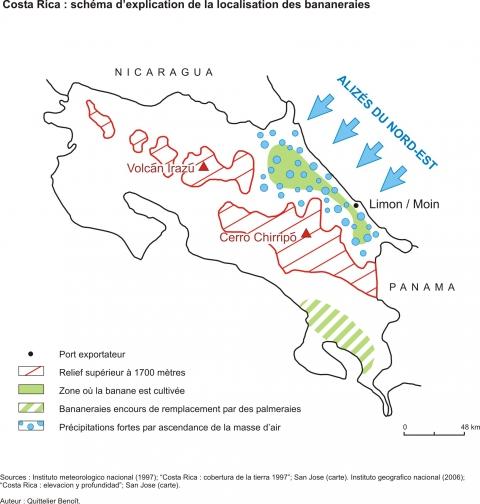 Figure 1.Costa Rica: schéma d'explication de la localisation des bananeraies.