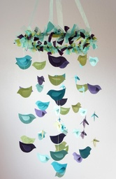 Bird Mobile- Aqua, Blue, Green, & Purple Nursery Decor