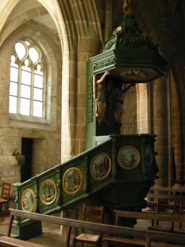 la superbe chaire de l'église St Ronan à Locronan