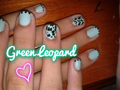 Green Leopard Nail Art ╰☆╮