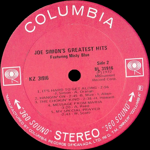 "Joe Simon : Album "" Joe Simon's Greatest Hits "" Sound Stage 7 Records KZ 31916 [ US ]"
