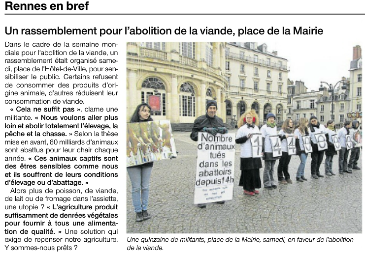 Article-OuestFrance-Abolition de la viande-Rennes