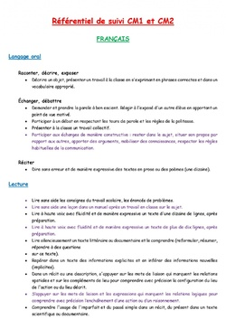 Comp&eacute;tences CM1 et CM2