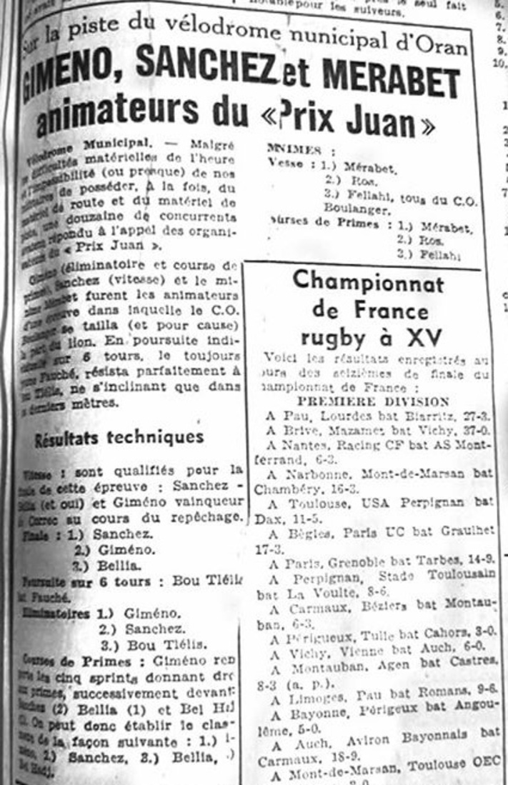ECHO D'ORAN - Le Cyclisme