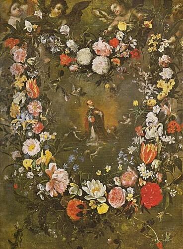 Guirlande de fleurs et St Ignace de Daniel Seghers et Hendi