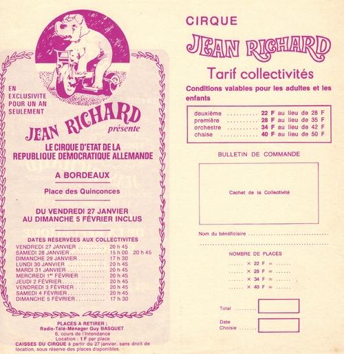 dépliant promotion pour les groupes du cirque Jean Richard en 1978 à Bordeaux