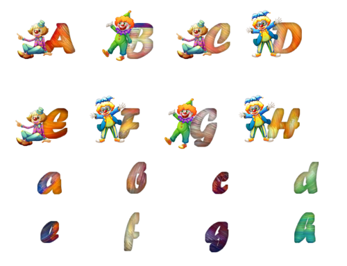 alphabet clowns