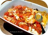 Gratin de crevettes, tomates et feta
