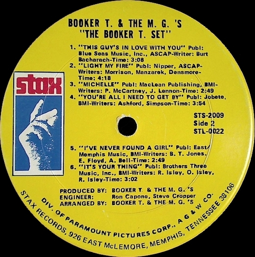 """1969 : Album """" The Booker T. Set """" Stax Records STS 2009 [ US ]"""