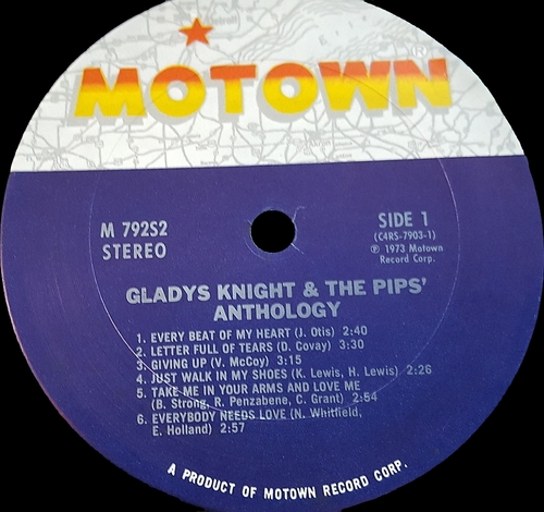 "Gladys Knight & The Pips : Album "" Anthology "" Motown Records M792S2 [ US ]"