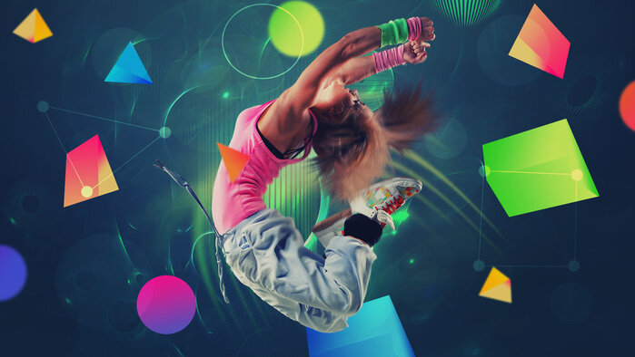 Fille, break dance, saut, figure, bracelet, chaussures de sport Wallpaper