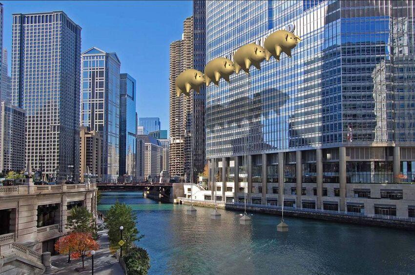 Chicago : des cochons dorés géants pour cacher le nom de Trump