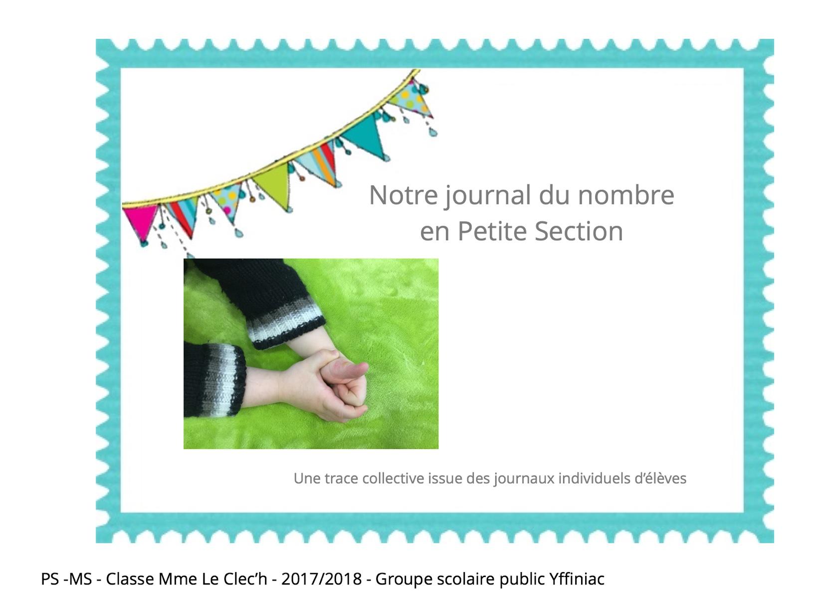 Journal du nombre en Petite Section 2017/2018