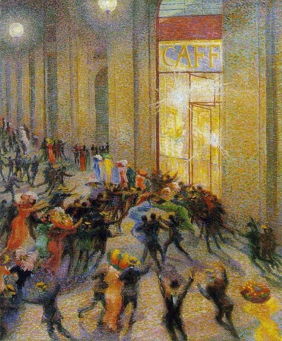Umberto Boccioni, Émeute du Galleria, 1910