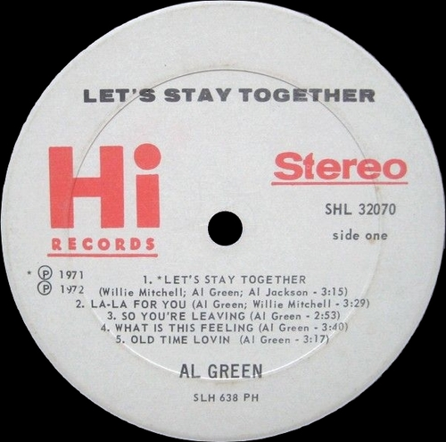 "1972 : Al Green : Album "" Let's Stay Together "" Hi Records SHL 32070 [ US ]"