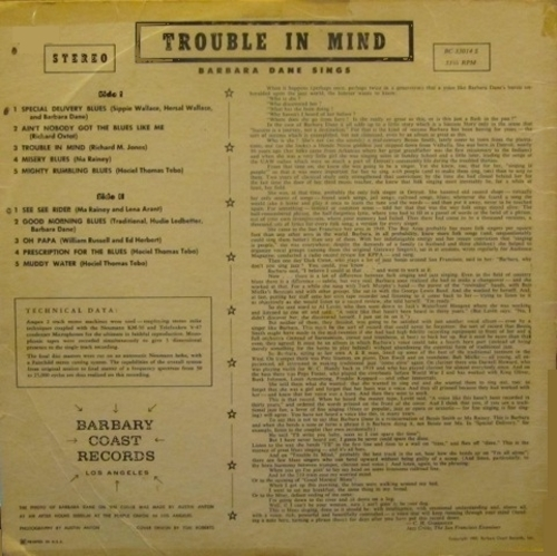 "Barbara Dane : Album ""  Trouble In Mind "" San Francisco Records M33014 [ US ]"
