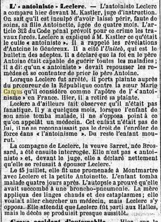 L'antoiniste Leclerc & Marie Camus