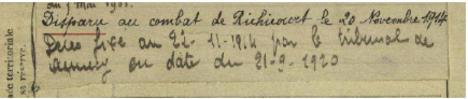 06*1914: Novembre du 21 au 30 - Réchicourt - Mort de Joris