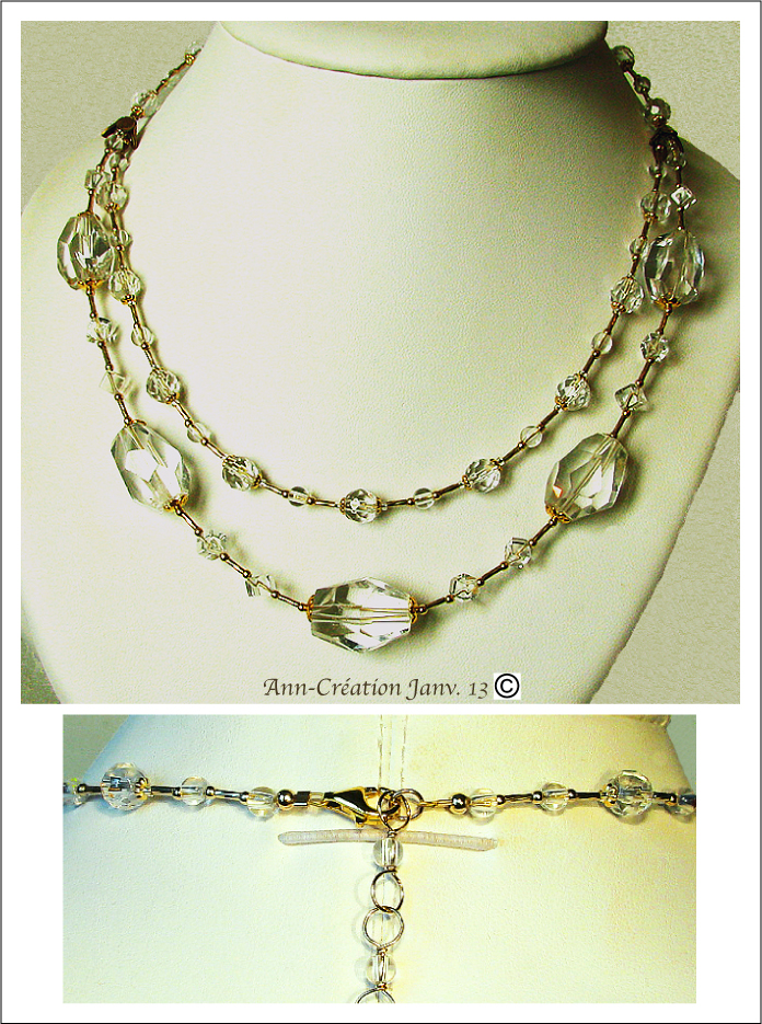 Collier 2 rangs Cristal de Roche / Plaqué Or Gold Filled, Gold plated & Vermeil