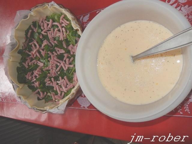 La Tarte à Popeye ou gâteau aux épinards, jambon et parmesan