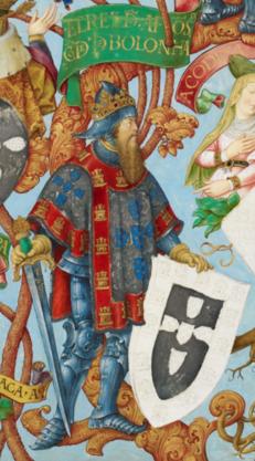 Le roi Alphonse III, enluminure issue de la Généalogie des rois de Portugal.