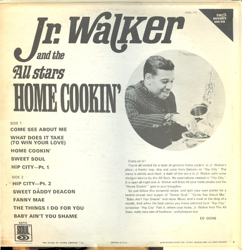 "Jr. Walker & The All Stars : Album "" Home Cookin' "" Soul Records SS 710 [ US ]"