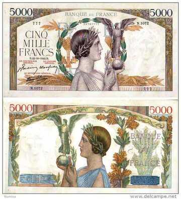 BILLET LE 5 000 FRANCS VICTOIRE