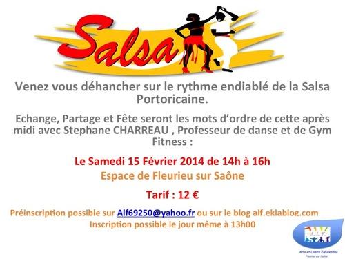 Stage de SALSA samedi 15 février de 14h à 16h à Fleurieu sur Saone