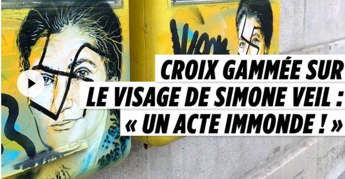 DES CROIX GAMMÉES SUR DEUX PORTRAITS DE SIMONE VEIL