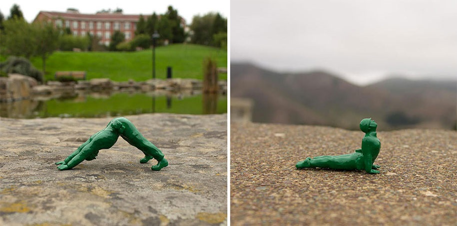 Classic Green Army Figures Practicing Yoga x 2