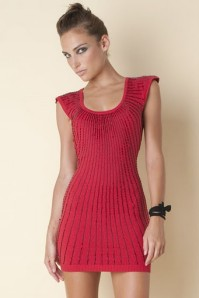chicka dress red blk half