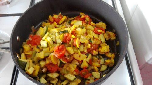 Pavés de saumon et gambas aux légumes du soleil