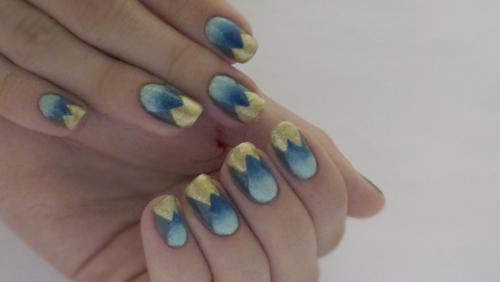 Nail Art géométrique et son dégradé