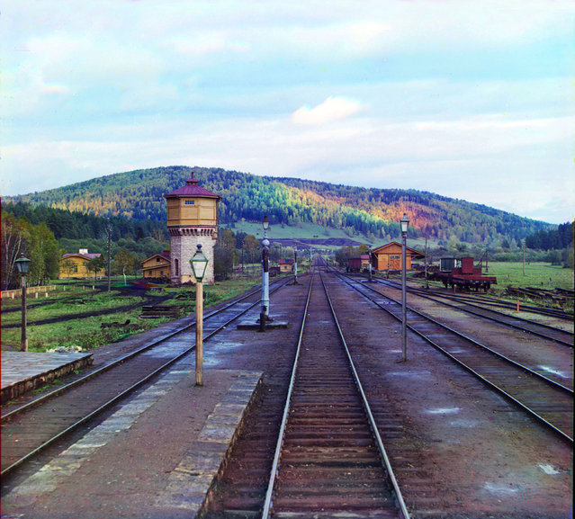 Photos by Sergey Prokudin-Gorsky. View from the rear platform of the Simskaia Station of the Samara-Zlatoust Railway. Russia, Ufa Province, Ufa uyezd (district), Simskaya station area, 1909