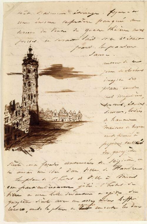 Victor Hugo - Beffroi de Mons (lettre à sa femme du 18 août 1837)(polemuseal.mons.be)