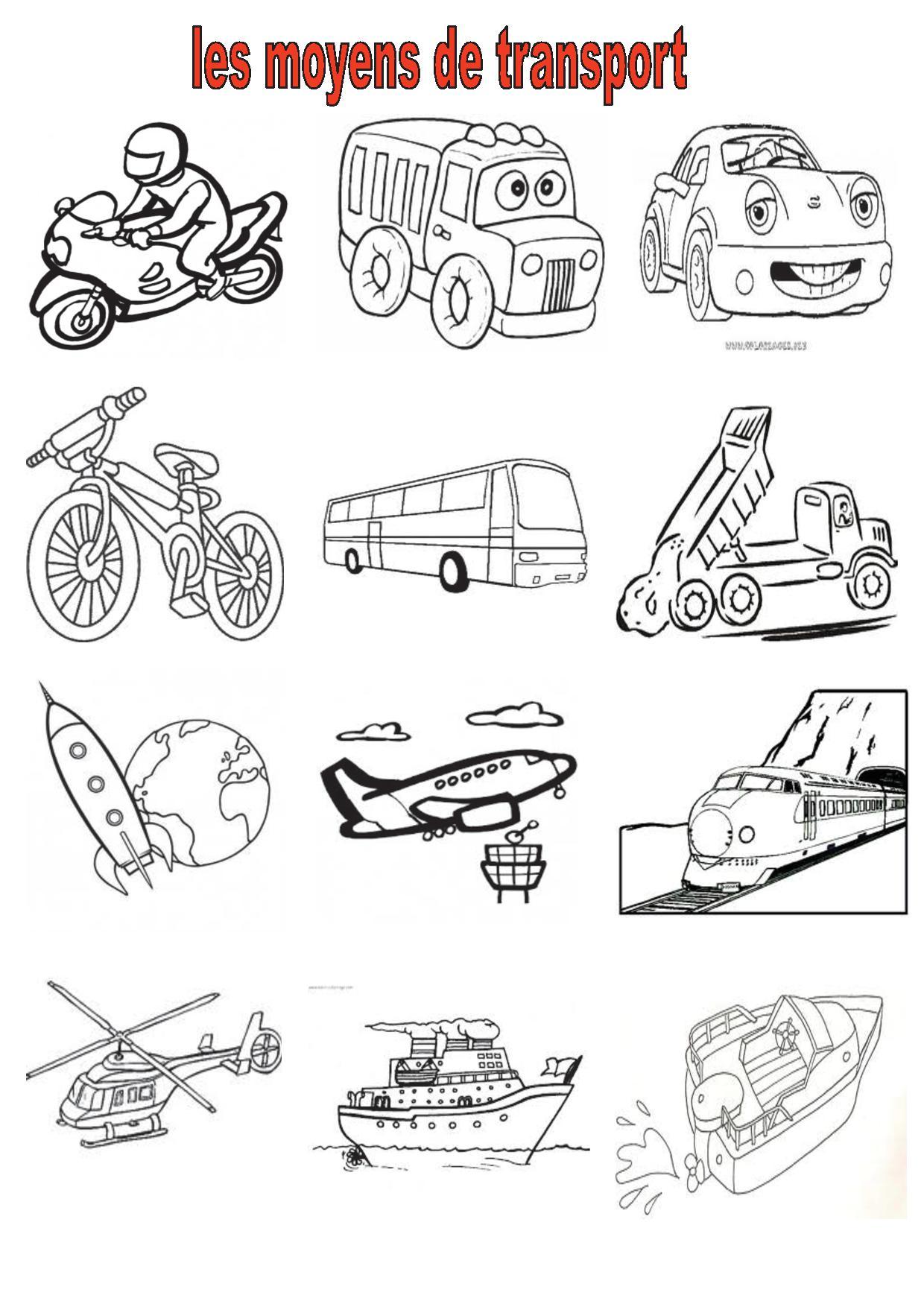 Vocabulaire 2 ce cm2 imagiers les moyens de transport - Dessin de transport ...