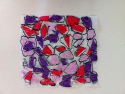 Les vitraux : papier de soie sur calque.