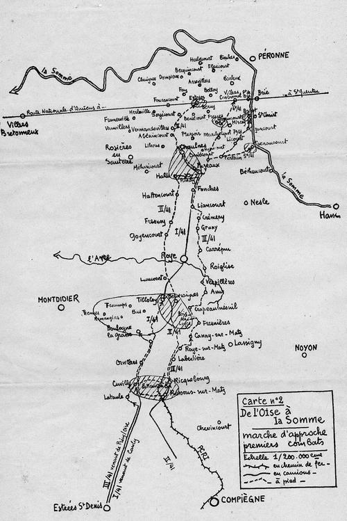 Cartographie du journal des opérations de guerre du 41° RI - Mai et juin 1940