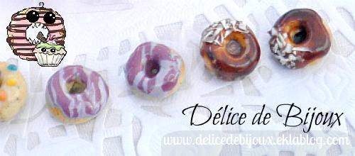 Boucles d'oreilles puces donuts délice violet et choco-coco en fimo