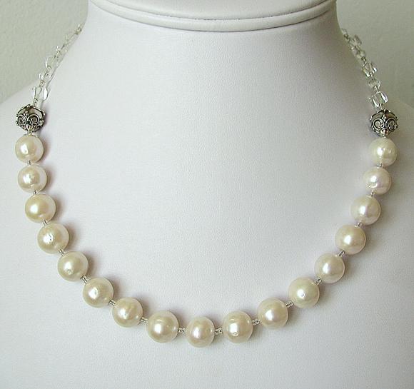 Collier Perles de Culture, Cristal de Roche / Argent 925