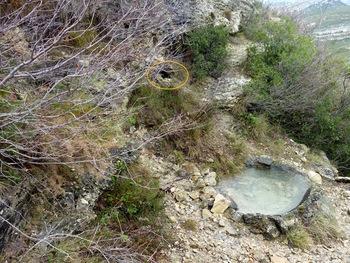 La vasque maçonnée. Dans l'ellipse jaune, la source permanente