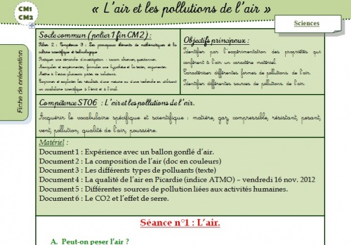 L'air et les pollutions de l'air - CM