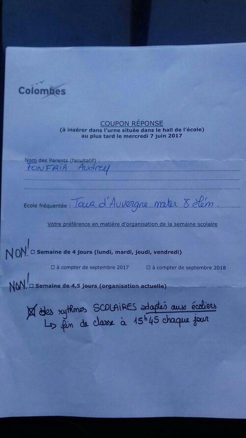 Questionnaire mairie sur les rythmes scolaires à Colombes