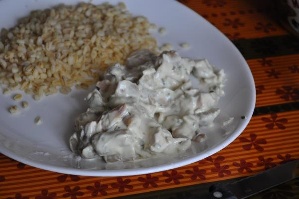 Saumon et champignons à la crème de ciboulette