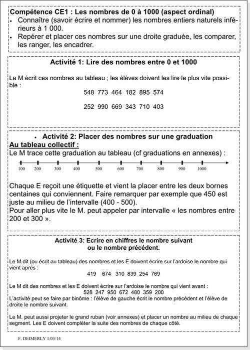 Les nombres de 0 à 1000 aspect ordinal, fiche de prep