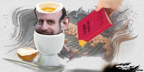 dessin de JERC du mercredi 09 Aout 2017 caricature Emmanuel Macron Scandale des œufs contaminés : parler aux français les yeux dans les œufs www.facebook.com/jercdessin
