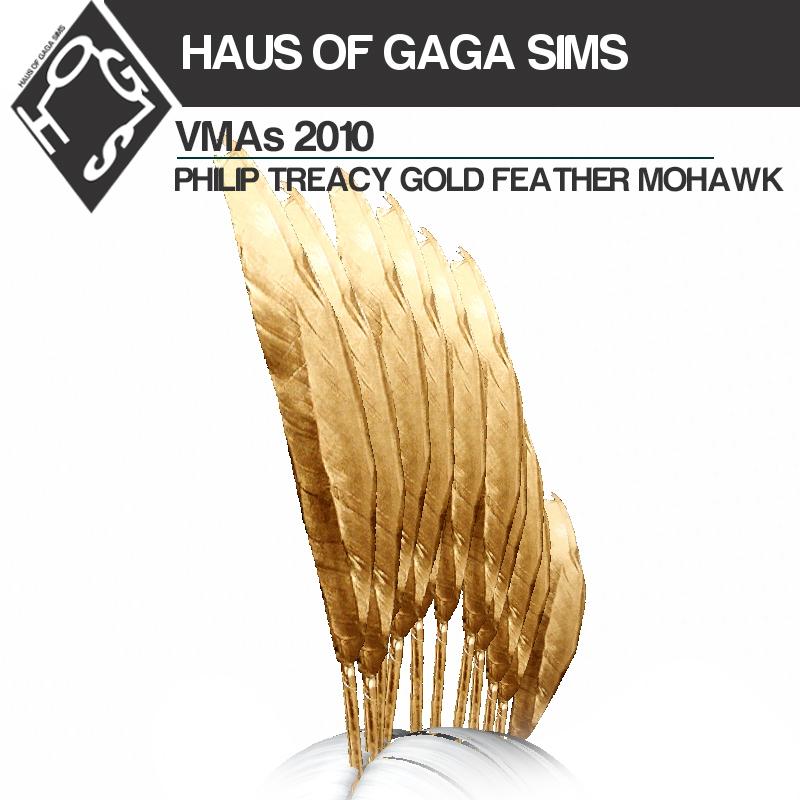 MTV VMAs 2010 PHILIP TREACY GOLD FEATHER MOHAWK