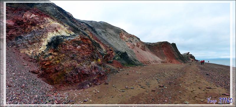 La falaise colorée de Smoking Hills (Smoking Hills's colorful bluff) - Cape Bathurst - Territoires du Nord-ouest - Canada
