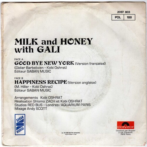 Milk & Honey With Gali - Goodbye New York (Version Française + Bonus - 1979)
