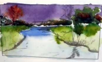 Dessin et peinture - vidéo 2095 : Expérimenter et jouer sur les teintes et les valeurs avec de l'aquarelle.